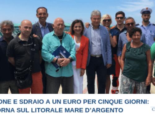 OMBRELLONE E SDRAIO A UN EURO PER CINQUE GIORNI:  TORNA SUL LITORALE MARE D'ARGENTO