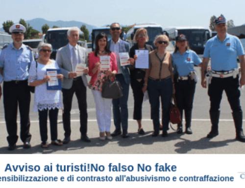 Avviso ai turisti!No falso No fake Iniziativa di sensibilizzazione e di contrasto all'abusivismo e contraffazione