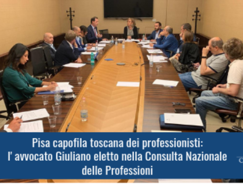 Pisa capofila toscana dei professionisti: l'avvocato Giuliano eletto nella Consulta Nazionale delle Professioni
