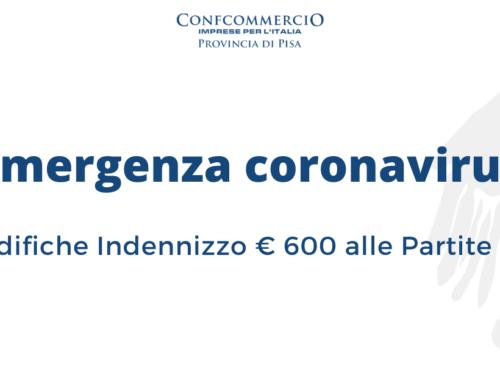 Modifiche Indennizzo € 600 alle Partite IVA
