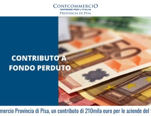 Confcommercio Provincia di Pisa, un contributo di 210mila euro per le aziende del territorio