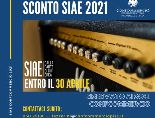 SIAE – Scadenza il 30 aprile 2021 SCONTO per i soci Confcommercio