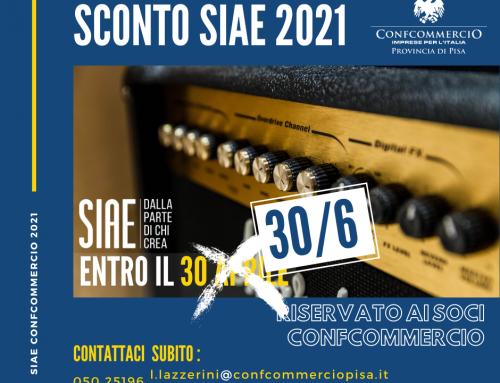 SIAE – Scadenza prorogata al 30 giugno 2021 SCONTO per i soci Confcommercio